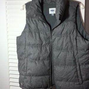 Gray quilted winter vest